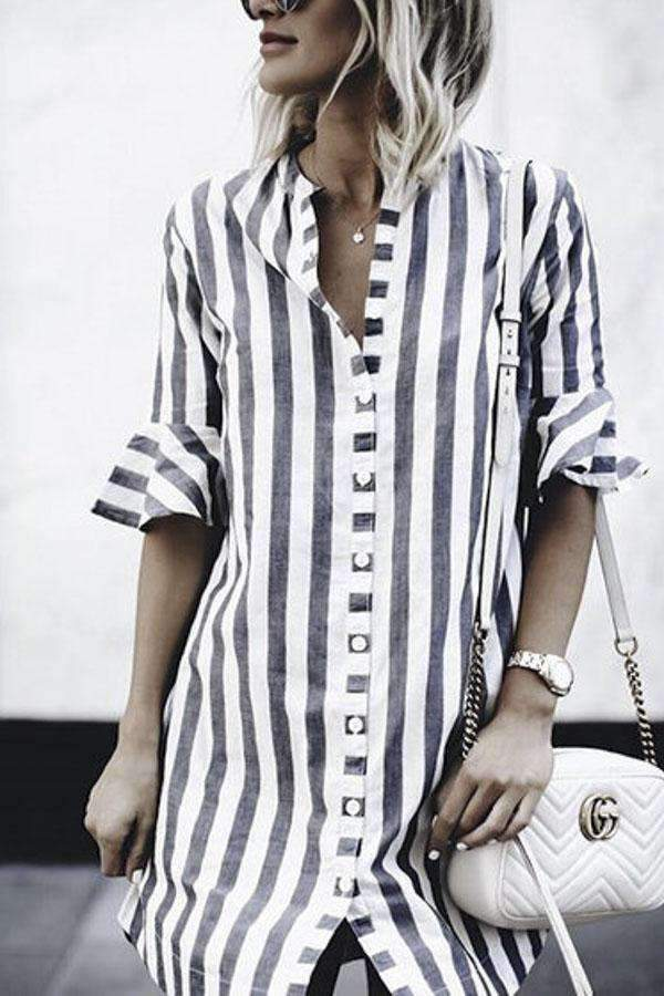 Stripe Button Down Curved Hem Shirt Dress