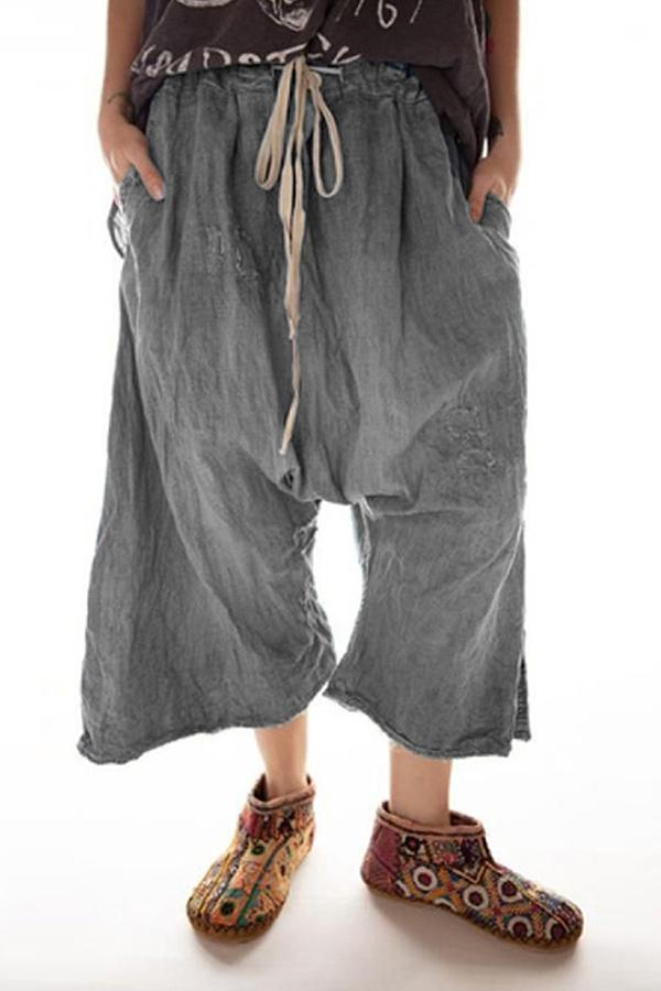 Drawstring Waist Pockets Wide Leg Pants