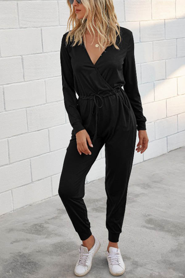 Casual Solid Cross Front V-neck Self-tie Foot-binding Jumpsuit