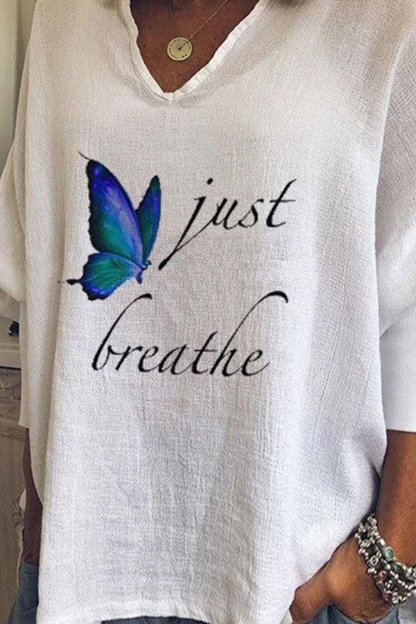 Just Breathe Letter Butterfly Print Bat Sleeves Literary T-shirt