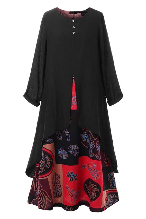 Floral Long Sleeves Irregular Maxi Dress