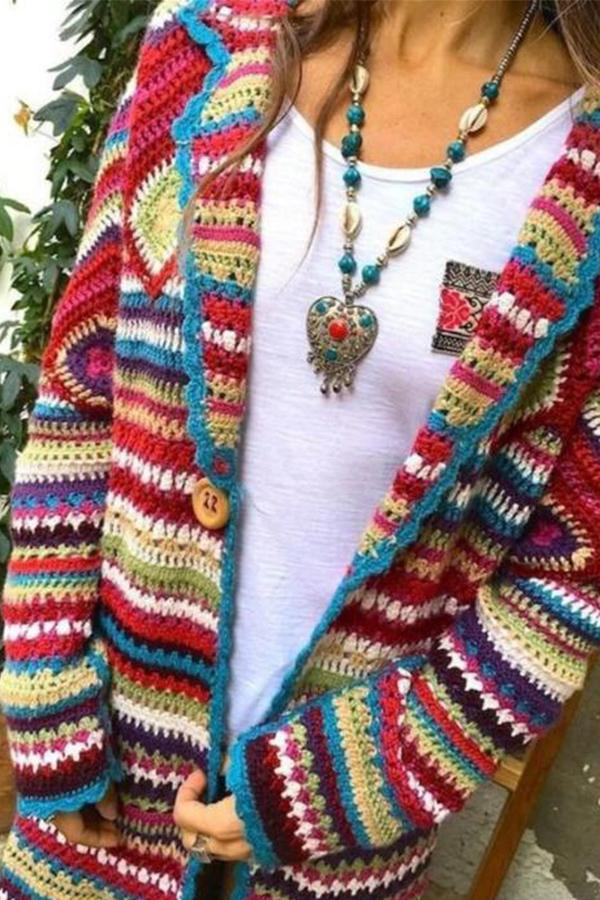 Colorful Print Lapel Casual Knitted Cardigan