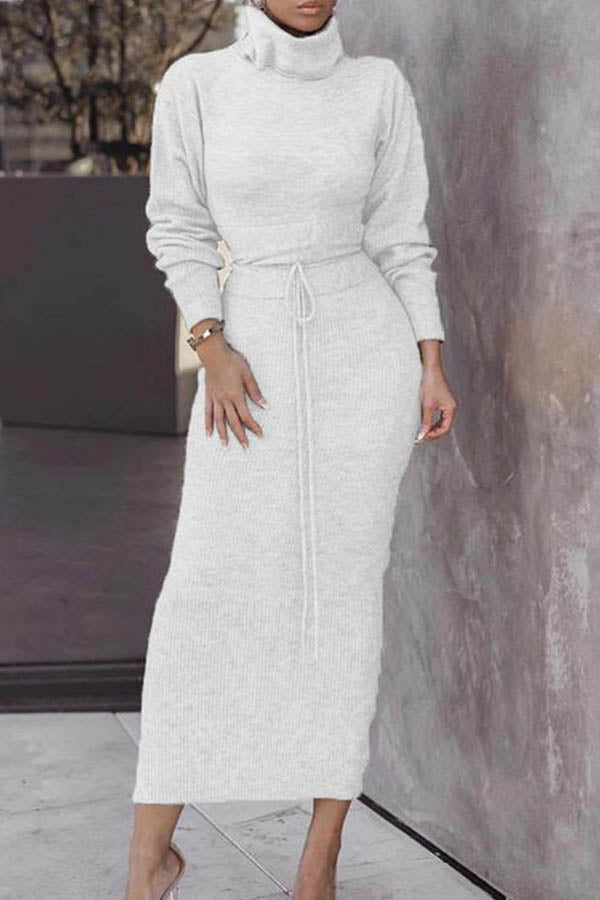 Elegant Solid Knitted Ribbed Sweater With Bodycon Sweater Skirt Two-pieces Set