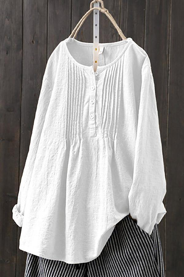 Linen Crew Neck Casual Paneled Solid Blouses