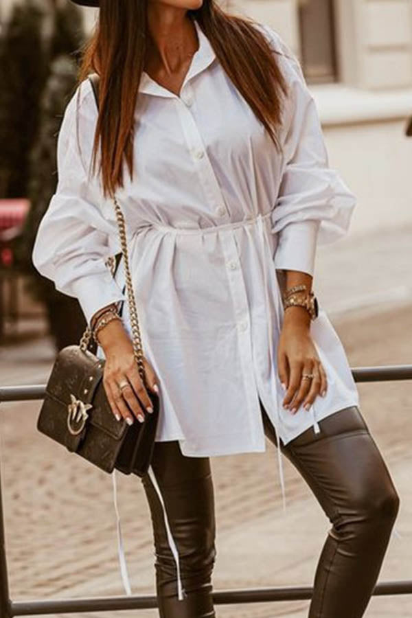 Solid Buttoned Shirt Collar Self-tie Curved Slit Hem Casual Mini Dress
