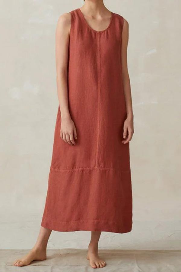 Linen Casual Solid Maxi Dress