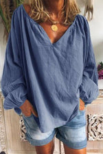 Casual V-neck Puff Sleeve Linen Blouse