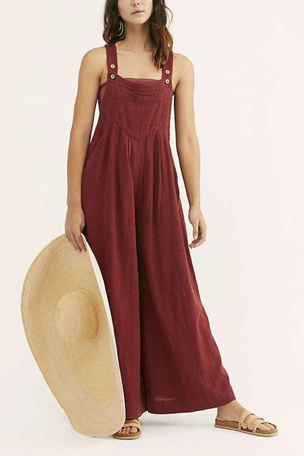 Pocket Front Square Neck Solid Jumpsuit
