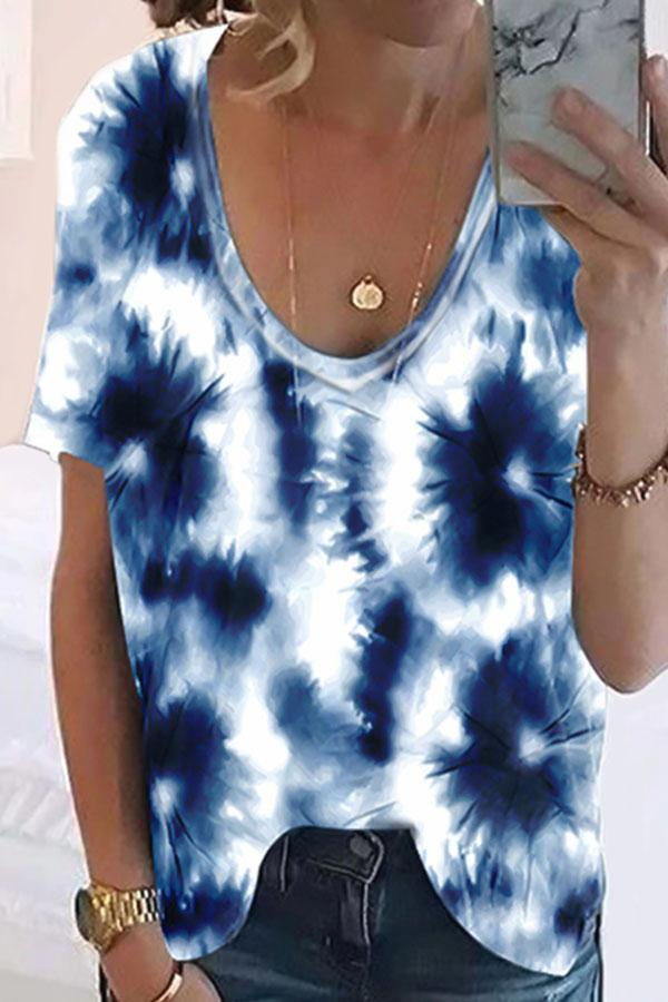 Paneled V-neck Gradient Print Short Sleeves Casual T-shirt