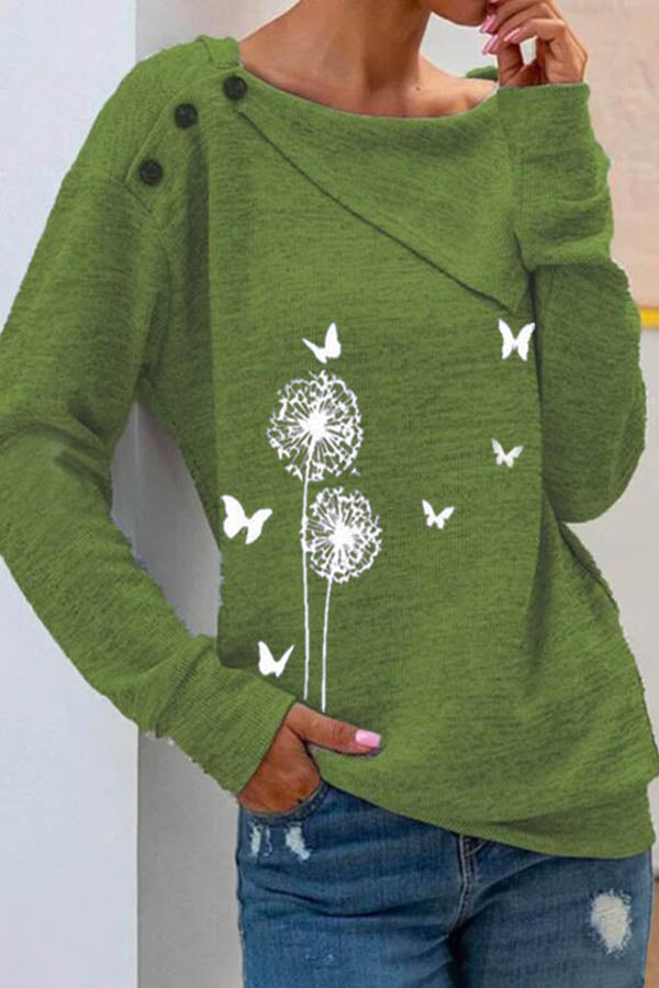 Dandelion Butterfly Print Asymmertric Lapel Collar Buttoned Blouse