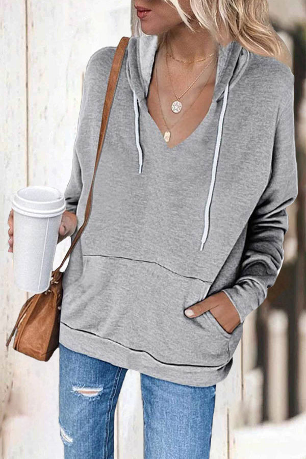 Sports Solid Drawstring Pocket Front Shift Hoodie