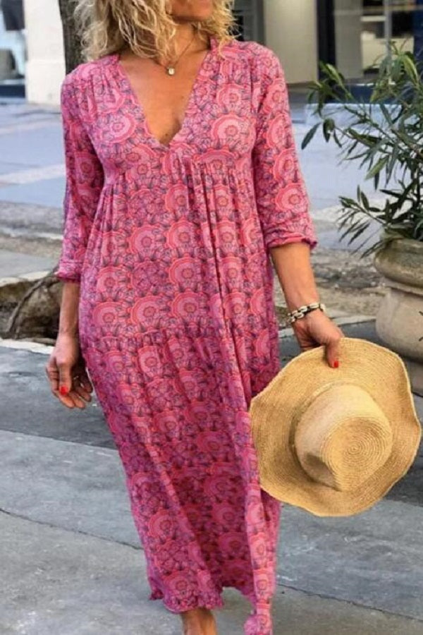 Bohemian Floral Print Pleated V-neck Maxi Dress