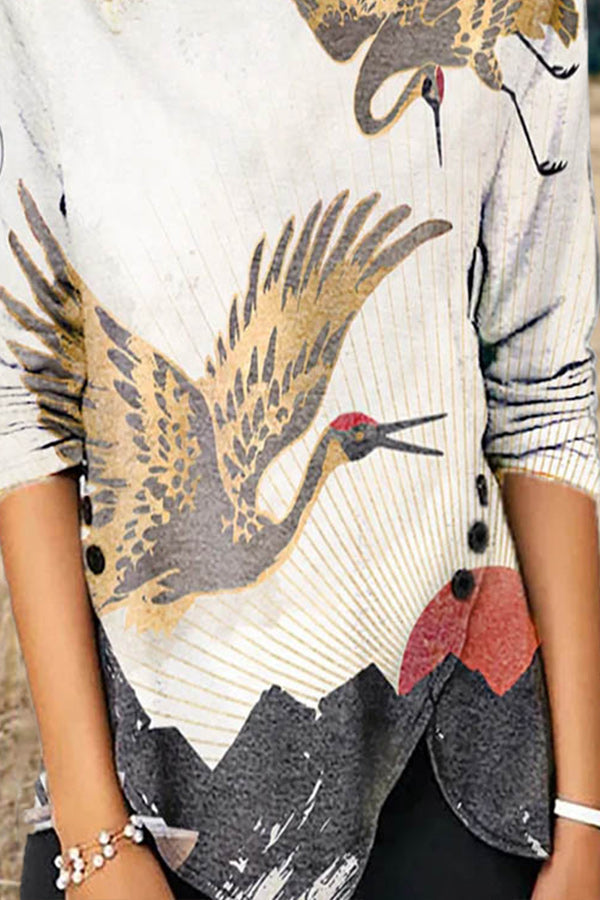 Literary Two Lifelike Crane Flyine Above Mountain Sunrise Print Buttoned Slit Hem T-shirt