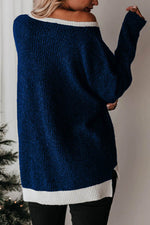 Color-block Solid Knitted Ribbed Slit High Low Hem Casual Sweater