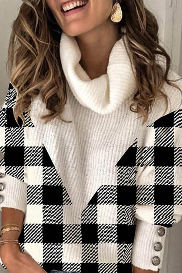 Elegant Plaid Jacquard Pile Collar Buttoned Color Block Knitted Ribbed Sweater