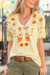 Paneled Floral Embroidery Buttoned V-neck T-shirt
