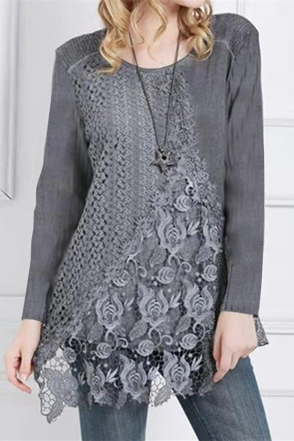 Paneled Floral Lace Irregular Hem Casual T-shirts