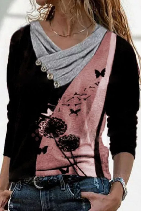 Literary Dandelion With Butterfly Print Buttoned Asymmetric Pile Collar Color Block T-shirt