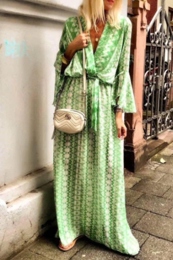 Bohemian Striped Geometric Print Cross Front Plunging Neck A-line Maxi Dress