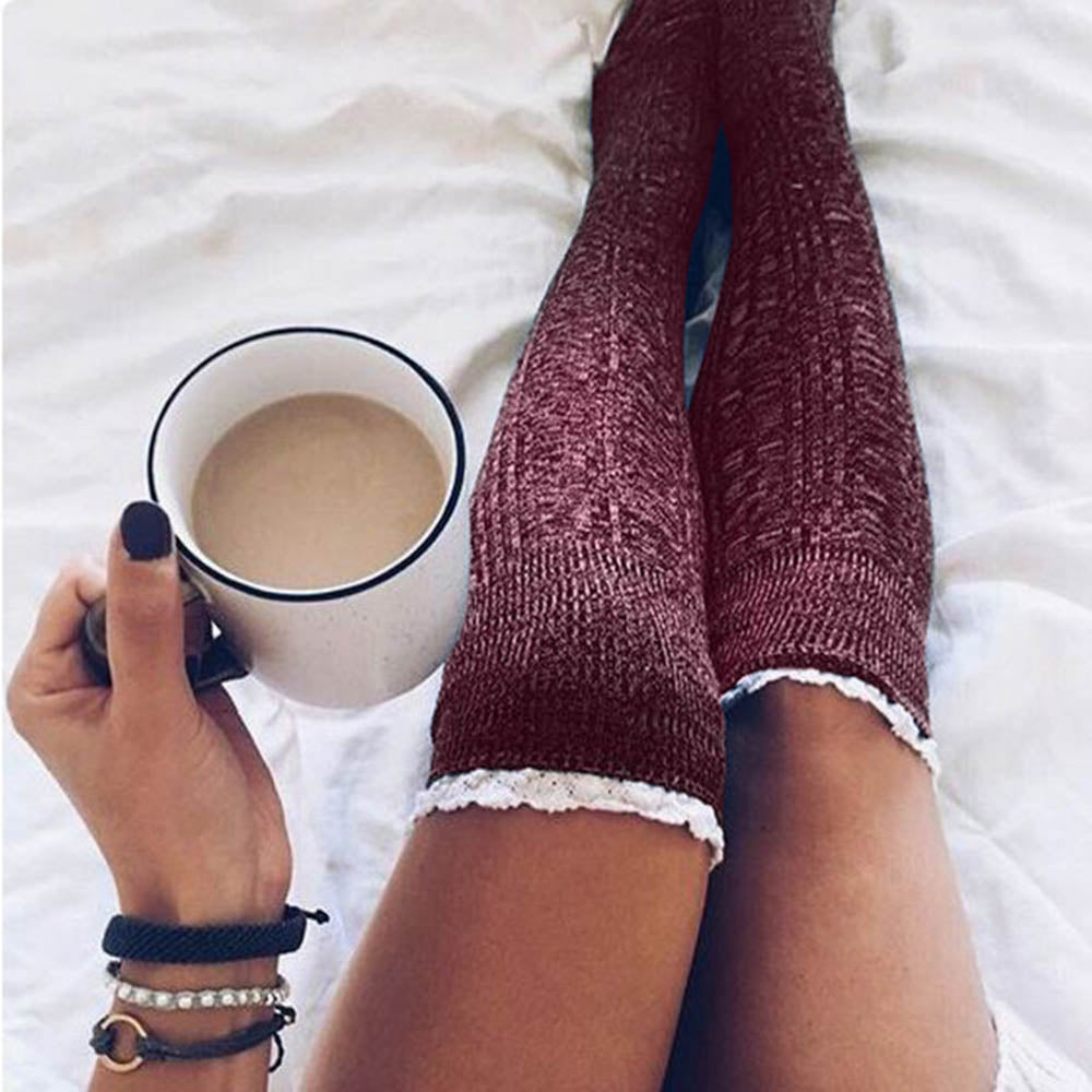 Solid Paneled Lace Knitted Holiday Knee Socks