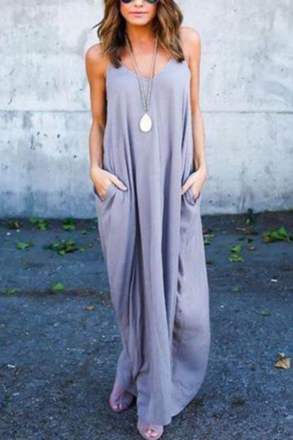 Solid Holiday Sling V-neck Pockets Maxi Dress