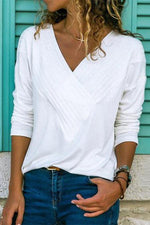 V Neck Stitching Long Sleeves T Shirt
