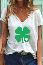 Four-Leaf Clover Heart-Shaped Printed V-Neck Short Sleeves T-Shirt