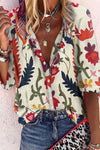 Plant Print Holiday Buttons Down Shirt Collar Blouse