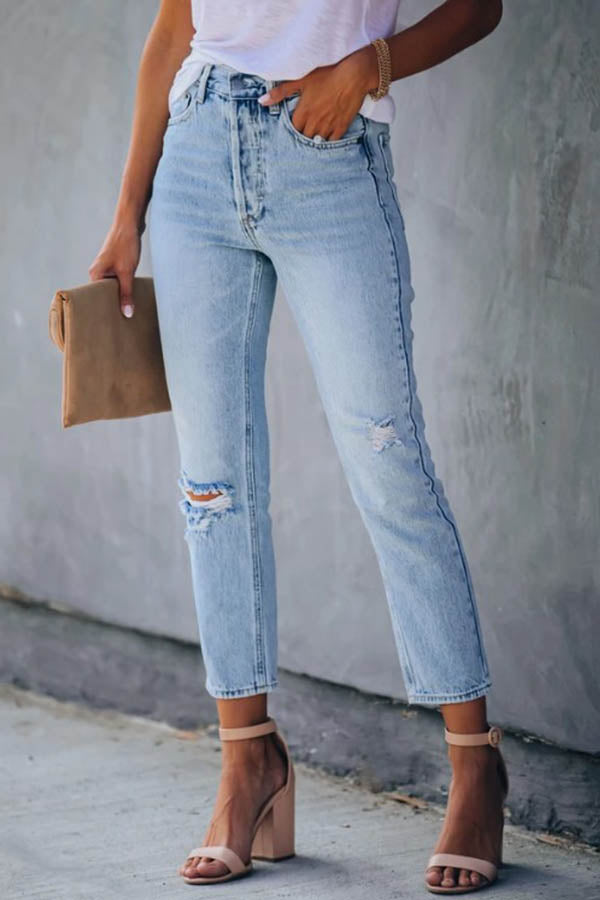 Women Daily Classic Solid Paneled Pockets Cutout Jeans