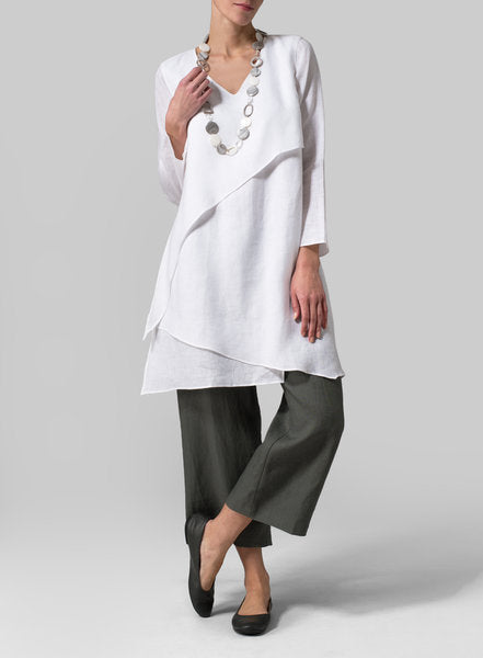 Paneled Linen Solid Long Sleeves Blouse