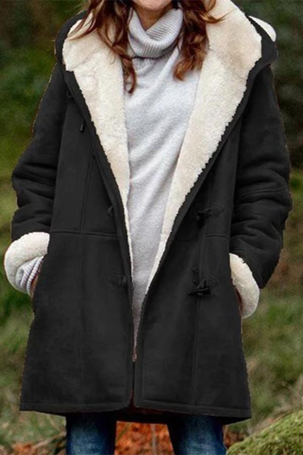 Casual Solid Pockets Buttoned Fluffy Hooded Coat
