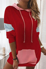 Sweety Solid Pocket Front Drawstring Color Block Hoodie