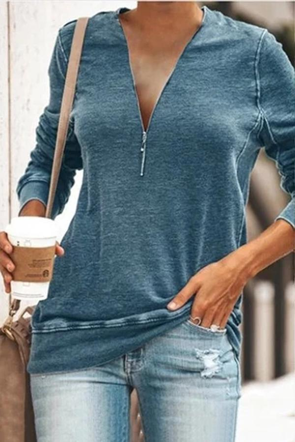 Solid V Neck Zipper Front T-shirts