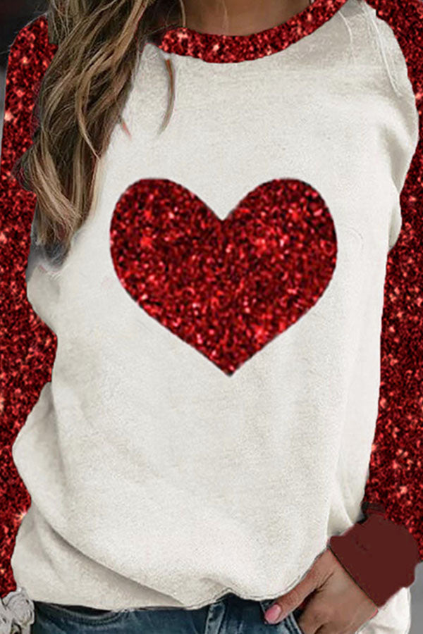 Sweety Red Heart Shaped Print Raglan Sleeves Color Block T-shirt