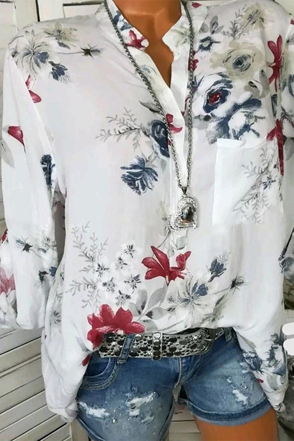 Long Sleeve V-neck Leaf Printed Casual Blouse