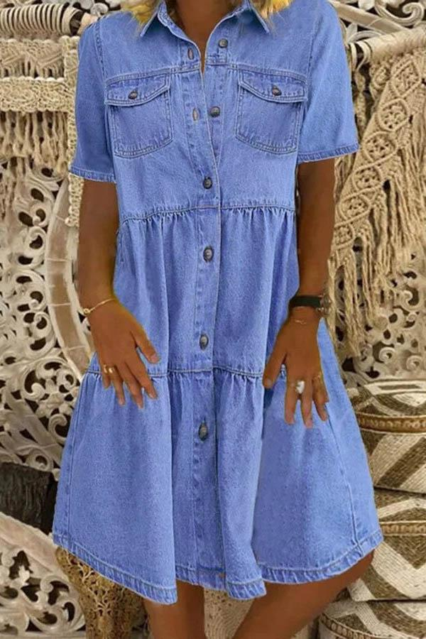 Casual Solid Paneled Pockets Buttons Down A-line Denim Midi Dress