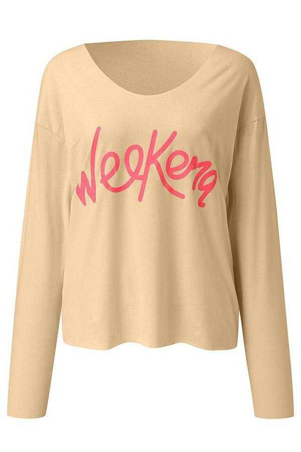V Neck Letter Print Long Sleeves T-shirts