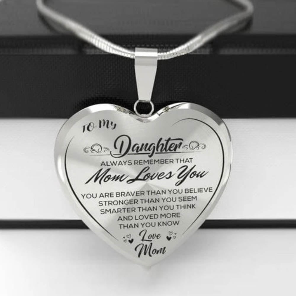 To My Daughter Love Mom Heart Shape Plating Pendant Sweety Necklace