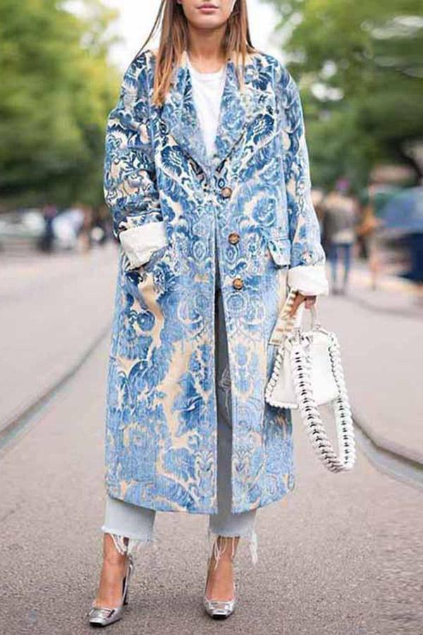 Floral Lapel Collar Button Pockets Long Coat