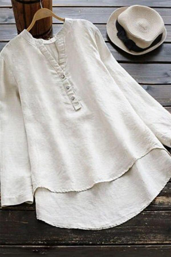 Solid V-neck High-low Hem Linen Top