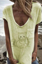 V-neck Cat Print Paneled Casual Short Sleeves T-shirt