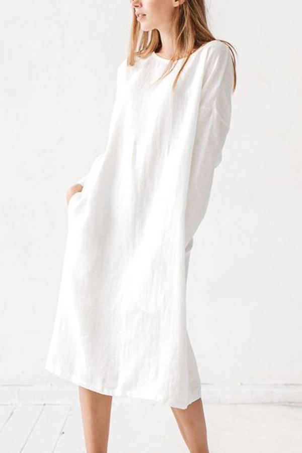 Crew Neck Long Sleeves Casual Linen Dress