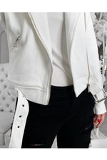 Lapel Collar Diagonal Zip Jacket