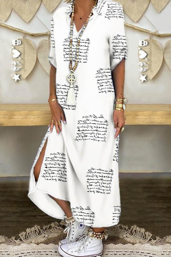 Letter Print Paneled 3/4 Sleeves Casual Slit Maxi Dress