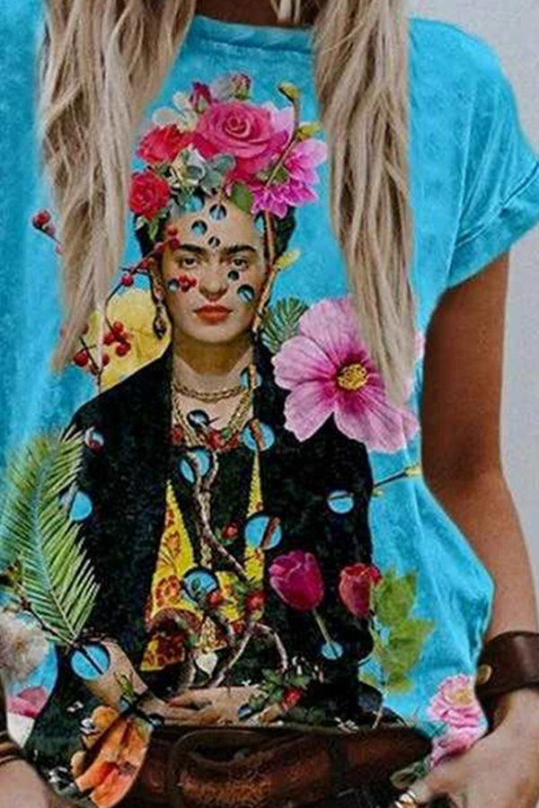 Frida Kahlo Surrounding By Colorful Floral Oil Painting Artistic T-shirt