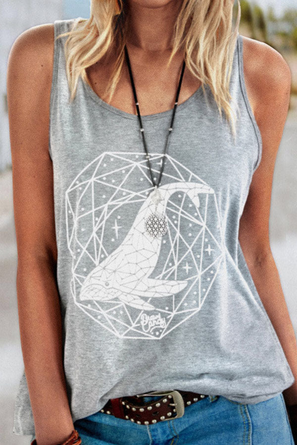 Street Geometric With Whale White Print Sleeveless Tank Top