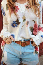 Floral Print V-neck Slit Side Knitted Top