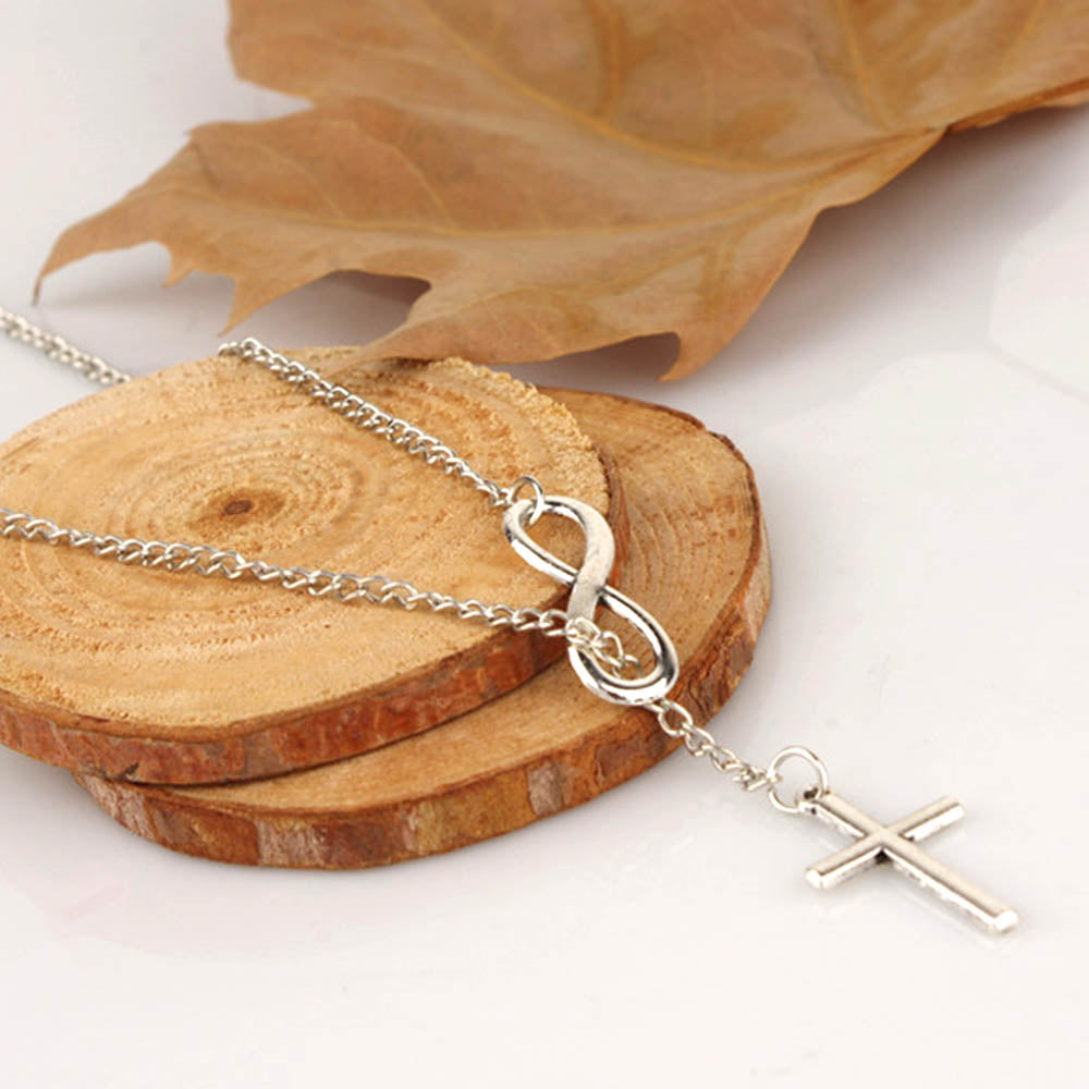 Simple Infinity Love Cross Pendant Plating Necklace