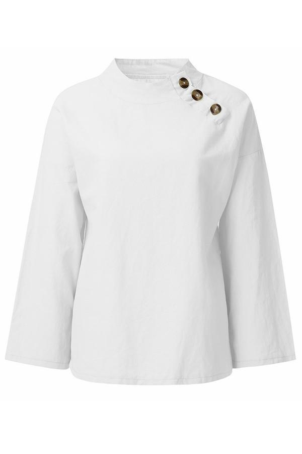 Buttoned Stand Neck Linen Blouse