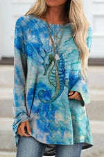 Blue Gradient Lifelike Hippocampus Print Holiday Raglan Sleeves T-shirt